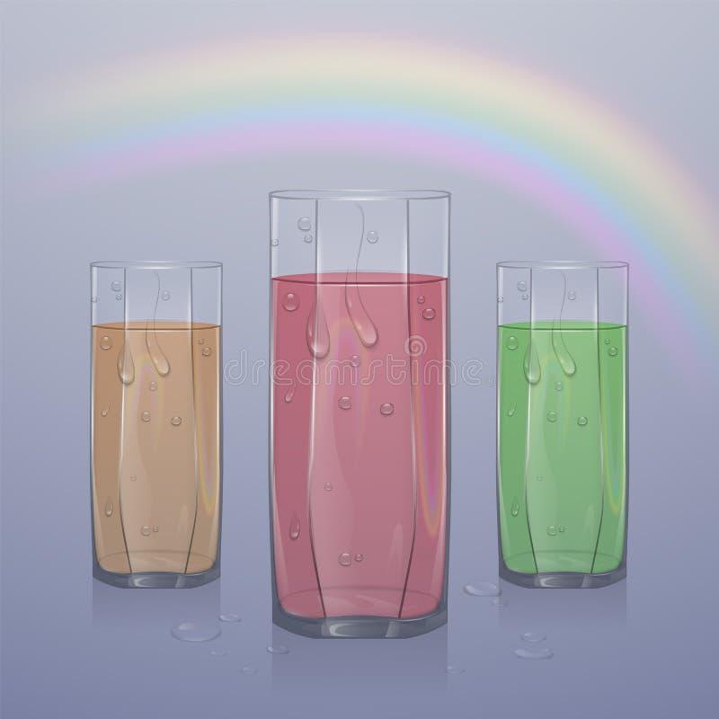 Uppsättning av realistiska exponeringsglas som fylls med fruktsaft på ljus bakgrund, klart exponeringsglas med fruktsaft med vatt vektor illustrationer