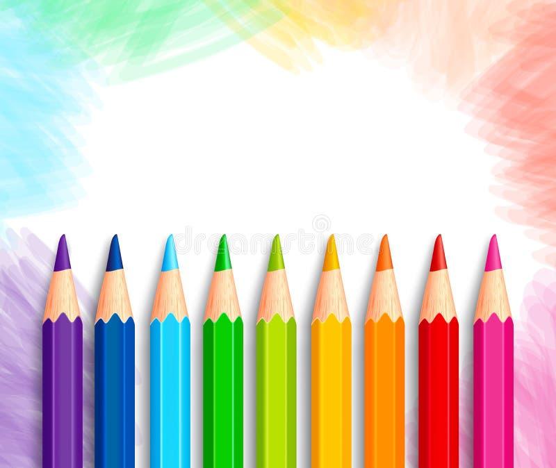 Uppsättning av realistiska färgrika kulöra blyertspennor 3D eller färgpennor stock illustrationer