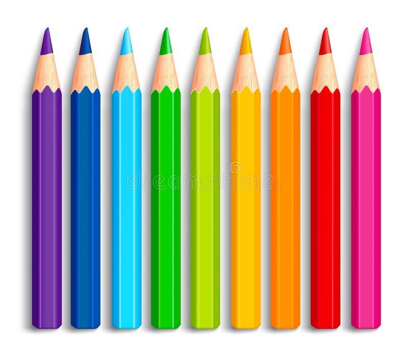 Uppsättning av realistiska flerfärgade kulöra blyertspennor 3D eller färgpennor vektor illustrationer