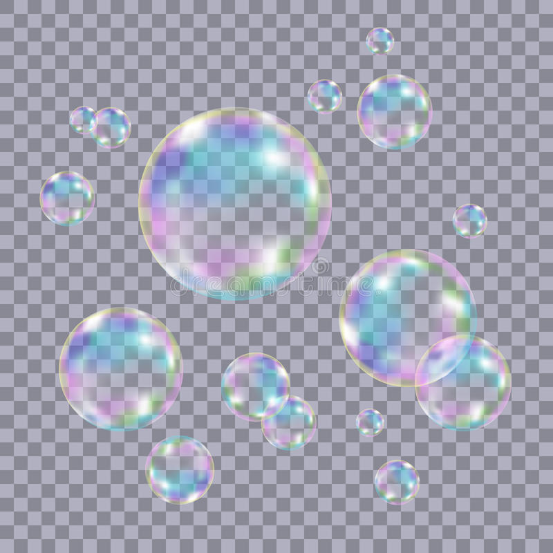 Uppsättning av realistiska genomskinliga färgrika såpbubblor vektor illustrationer