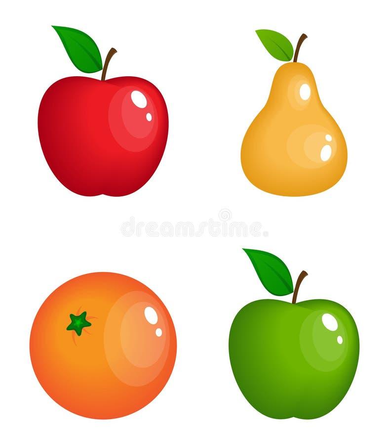 Uppsättning av realistiska glansiga frukter för vektor vektor illustrationer