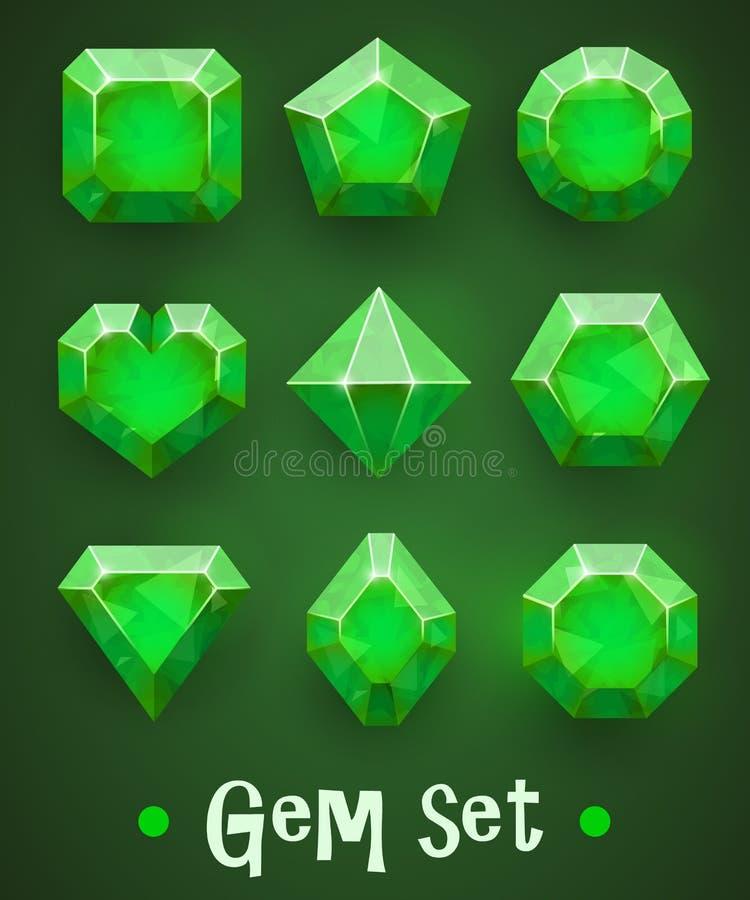 Uppsättning av realistiska gröna ädelstenar av olika former Smaragdsamling Beståndsdelar för mobila lekar eller garnering stock illustrationer