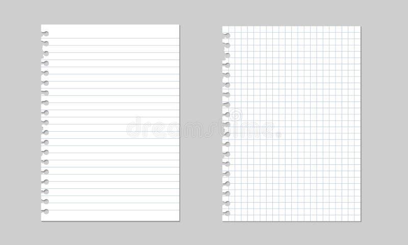 Uppsättning av realistiska illustrationer för vektor av ett sönderrivet ark av papper från en arbetsbok med skugga som isoleras royaltyfri illustrationer