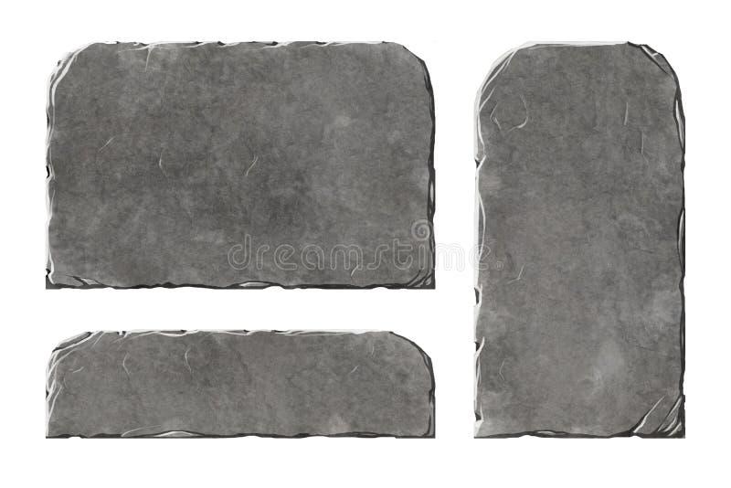 Uppsättning av realistiska stenbeståndsdelar stock illustrationer