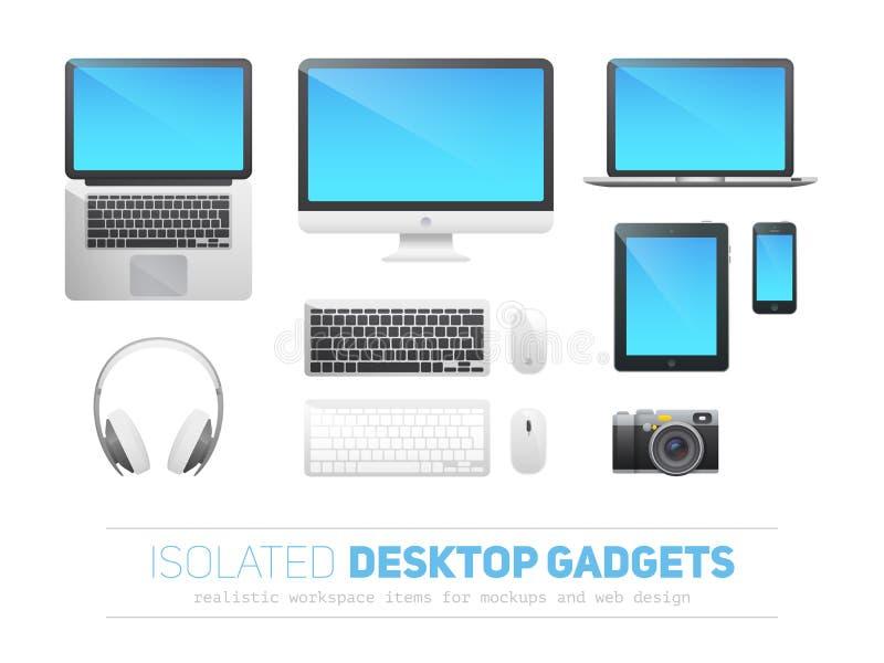 Uppsättning av realistiska svars- skrivbords- apparater vektor illustrationer