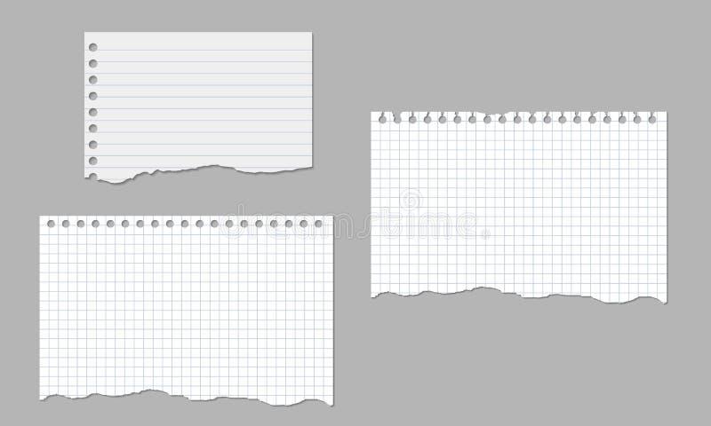 Uppsättning av realistiska vektorillustrationer av sönderrivna ark av isolerat fodrat och fyrkantigt papper stock illustrationer