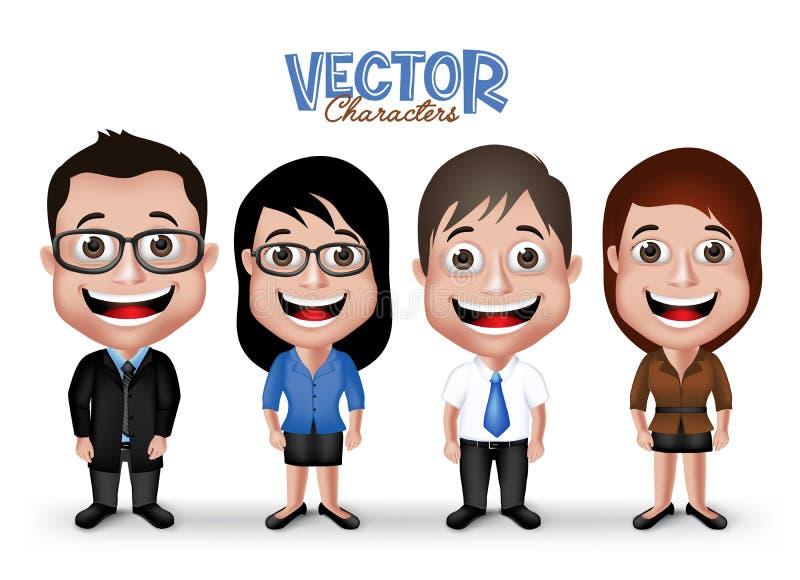 Uppsättning av realistiskt yrkesmässigt le för tecken för man 3D och kvinnalyckligt royaltyfri illustrationer