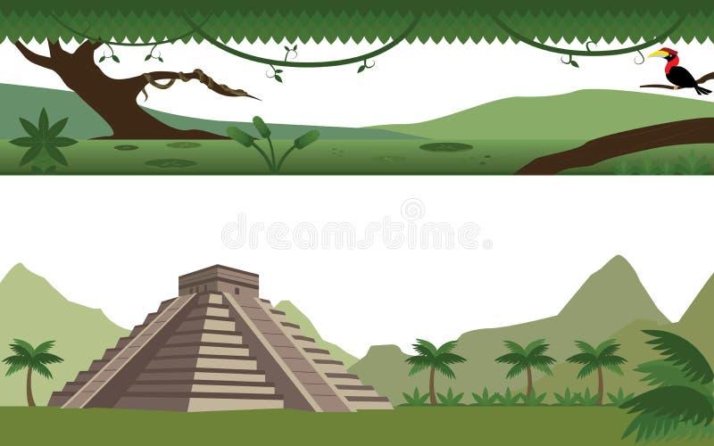 Uppsättning av regn Forest River och Aztecpyramidlandskapet royaltyfri illustrationer