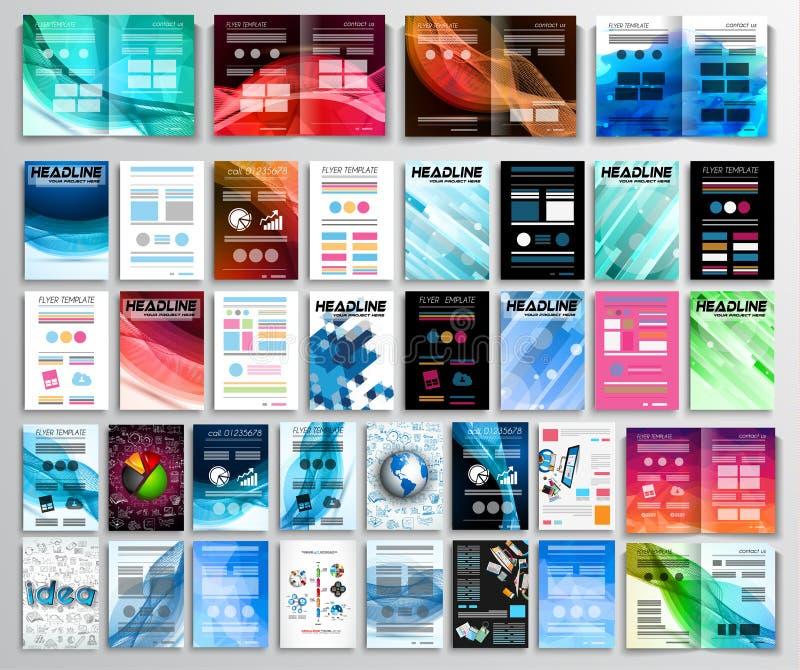 Uppsättning av reklamblad, bakgrund, infographics, broschyrer, affärskort royaltyfri illustrationer