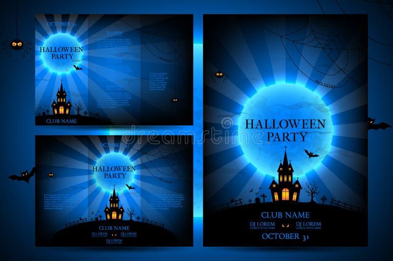 Uppsättning av reklamblad för halloween vektor illustrationer