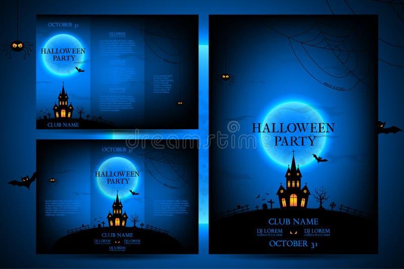 Uppsättning av reklamblad för halloween vektorillustration royaltyfri illustrationer