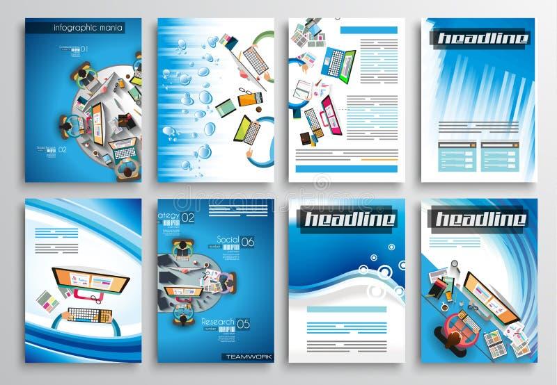 Uppsättning av reklambladdesignen, Infographic mallar Broschyrdesigner royaltyfri illustrationer