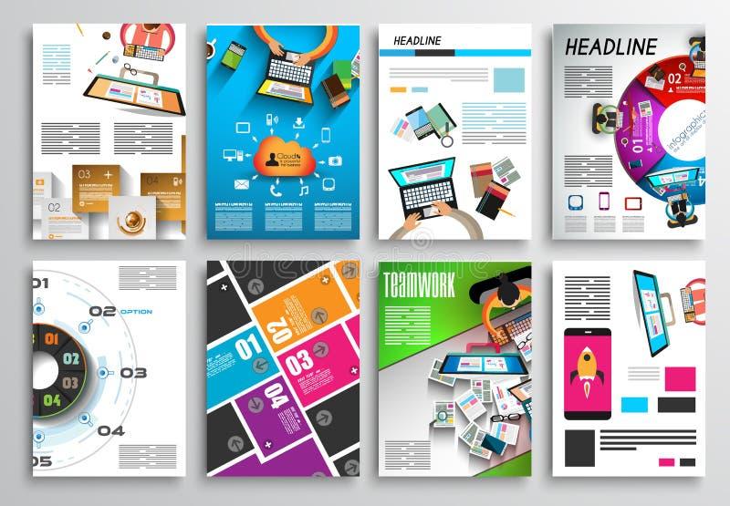 Uppsättning av reklambladdesignen, Infographics Broschyrdesigner, teknologibakgrunder royaltyfri illustrationer