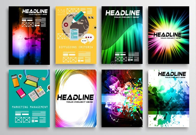 Uppsättning av reklambladdesignen, plan användargränssnitt Broschyrdesigner vektor illustrationer