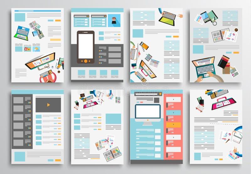 Uppsättning av reklambladdesignen, rengöringsdukmallar Broschyrdesigner stock illustrationer
