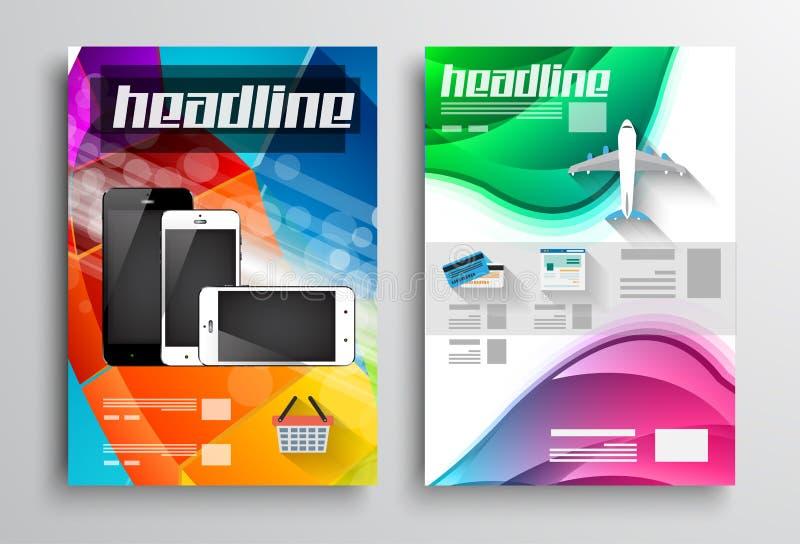 Uppsättning av reklambladdesignen, rengöringsdukmallar Broschyrdesigner royaltyfri illustrationer