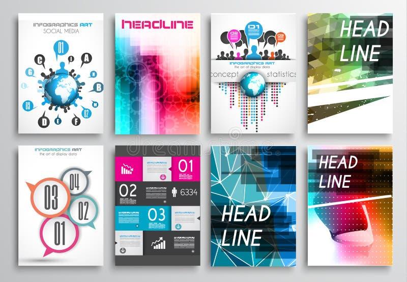 Uppsättning av reklambladdesignen, rengöringsdukmallar Broschyrdesigner, Infographics bakgrunder royaltyfri illustrationer
