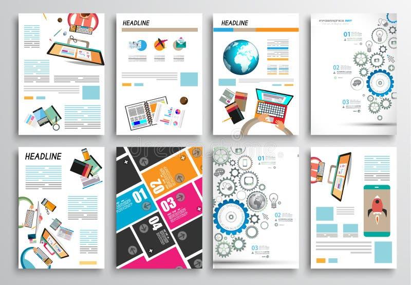 Uppsättning av reklambladdesignen, rengöringsdukmallar Broschyrdesigner, Infographics bakgrunder vektor illustrationer
