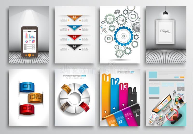 Uppsättning av reklambladdesignen, rengöringsdukmallar Broschyrdesigner, Infographics bakgrunder stock illustrationer