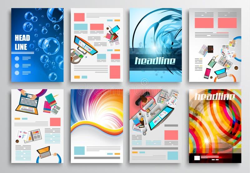 Uppsättning av reklambladdesignen, rengöringsdukmallar Broschyrdesigner, teknologibakgrunder vektor illustrationer