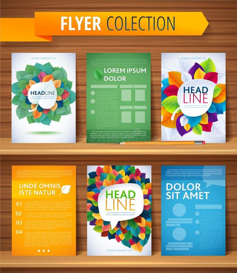 Uppsättning av reklambladet, broschyrdesignmallar Sidor royaltyfri illustrationer