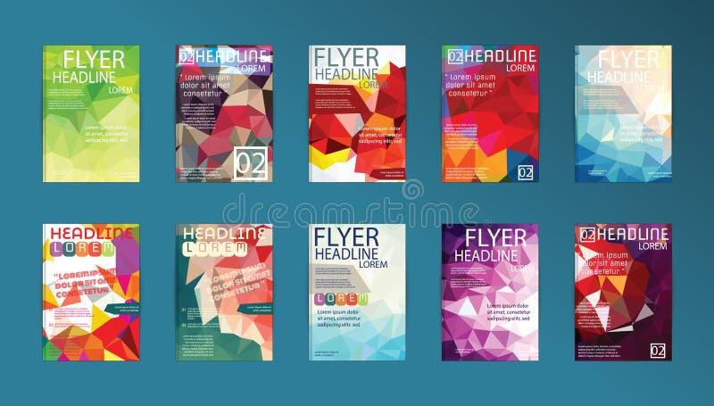 Uppsättning av reklambladet, reklamblad för broschyrdesignmallar, affischer och Plac stock illustrationer