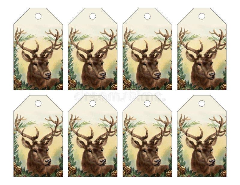 Uppsättning av 8 renetiketter för jul eller vinter royaltyfri illustrationer