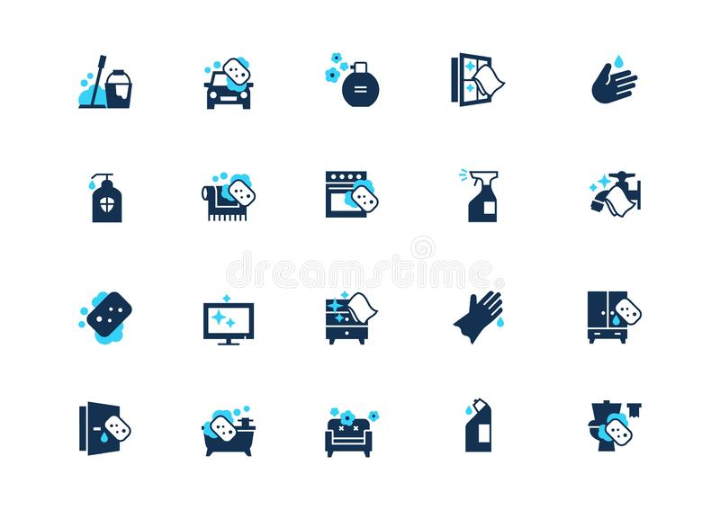 Uppsättning av rengörande symboler med blå brytning som isoleras på ljus bakgrund stock illustrationer