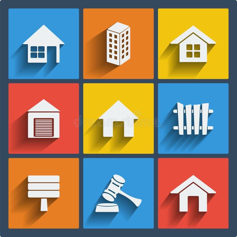 Uppsättning av rengöringsduk- och mobilsymboler för 9 fastighet. Vektor. royaltyfri illustrationer