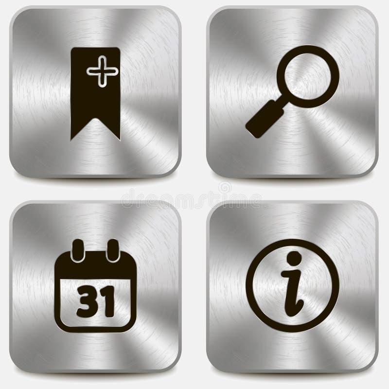 Uppsättning av rengöringsduksymboler på metalliska knappar vol3 vektor illustrationer