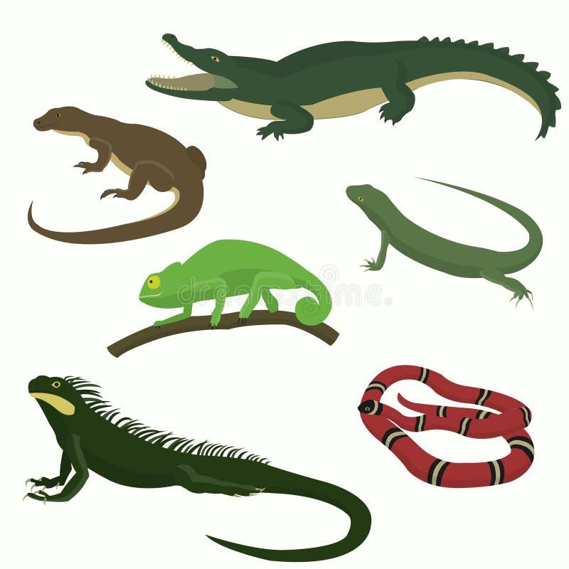 Uppsättning av reptilar och amfibier stock illustrationer
