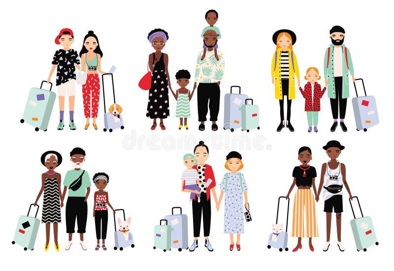 Uppsättning av resande familjer och par Olikt trendigt folk med bagage, barn Färgrik vektorsamling stock illustrationer
