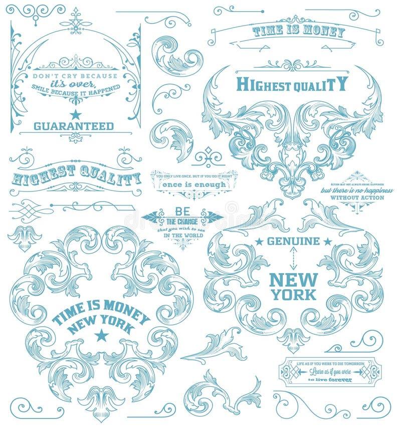 Uppsättning av retro beståndsdelar: barockramar, retro etiketter Kritastil vektor illustrationer