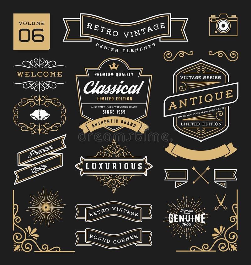 Uppsättning av retro beståndsdelar för grafisk design för tappning vektor illustrationer
