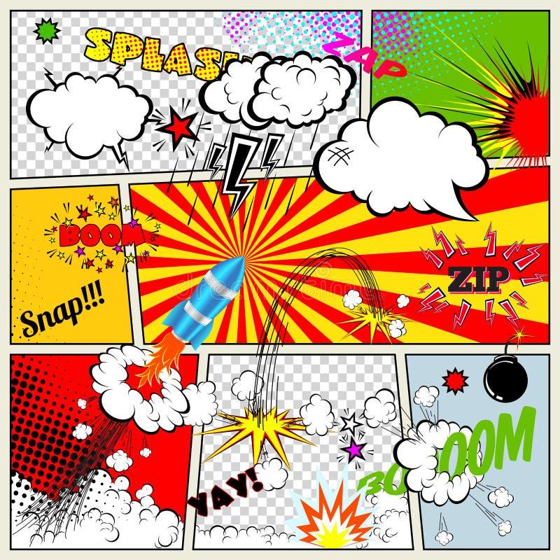 Uppsättning av Retro beståndsdelar för humorbokvektordesign, anförande och tankebubblor stock illustrationer