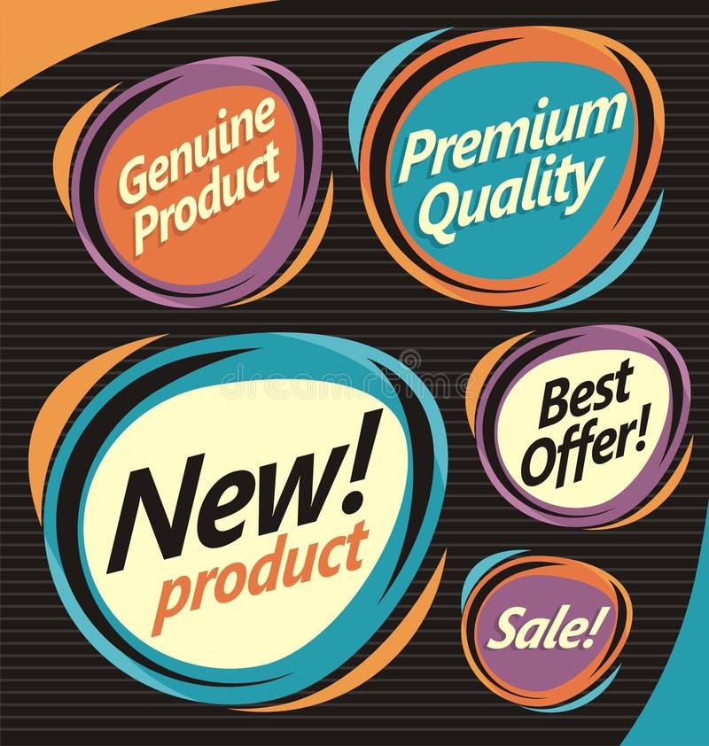 Uppsättning av retro etiketter stock illustrationer