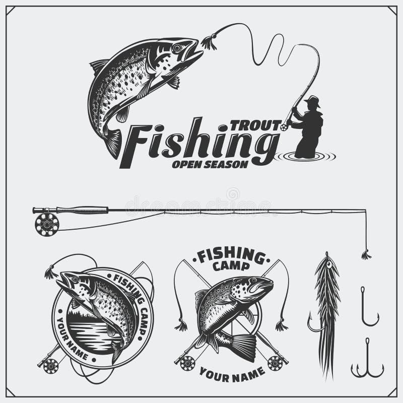Uppsättning av retro fiskeetiketter, emblem, emblem och designbeståndsdelar Tappningstildesign vektor illustrationer
