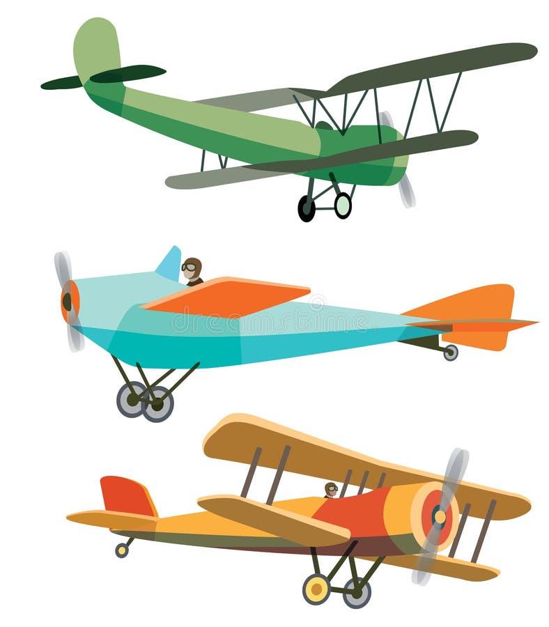 Uppsättning av Retro flygplan royaltyfri illustrationer
