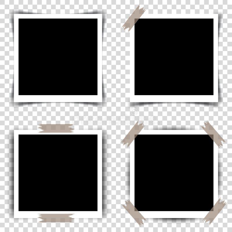 Uppsättning av Retro fotoramar med skuggor också vektor för coreldrawillustration stock illustrationer