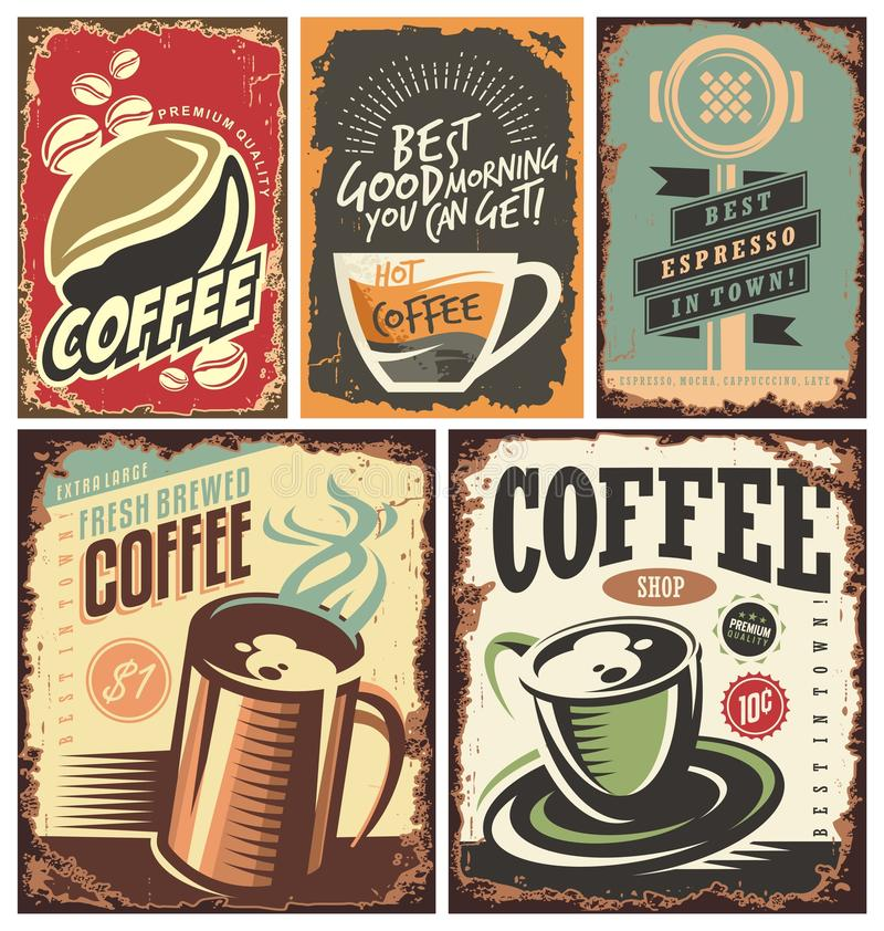 Uppsättning av retro kaffetenntecken stock illustrationer
