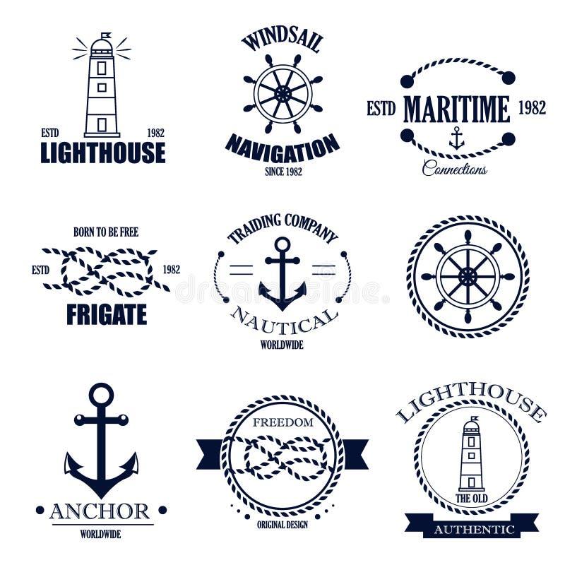 Uppsättning av retro nautiska emblem för tappning och vektoretiketter stock illustrationer