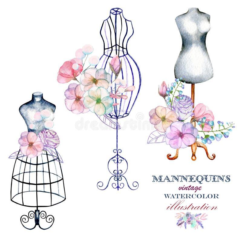 Uppsättning av retro skyltdockor för vattenfärg och blommor, uppsättning av logomodeller royaltyfri illustrationer