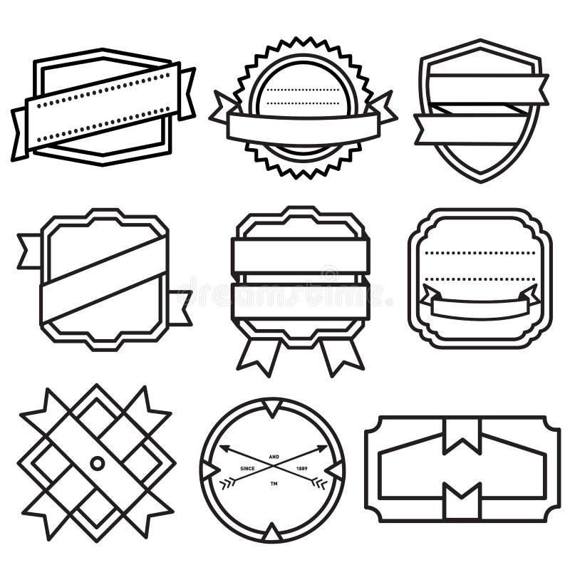 Uppsättning av retro tappningemblem, band och etiketter royaltyfri illustrationer