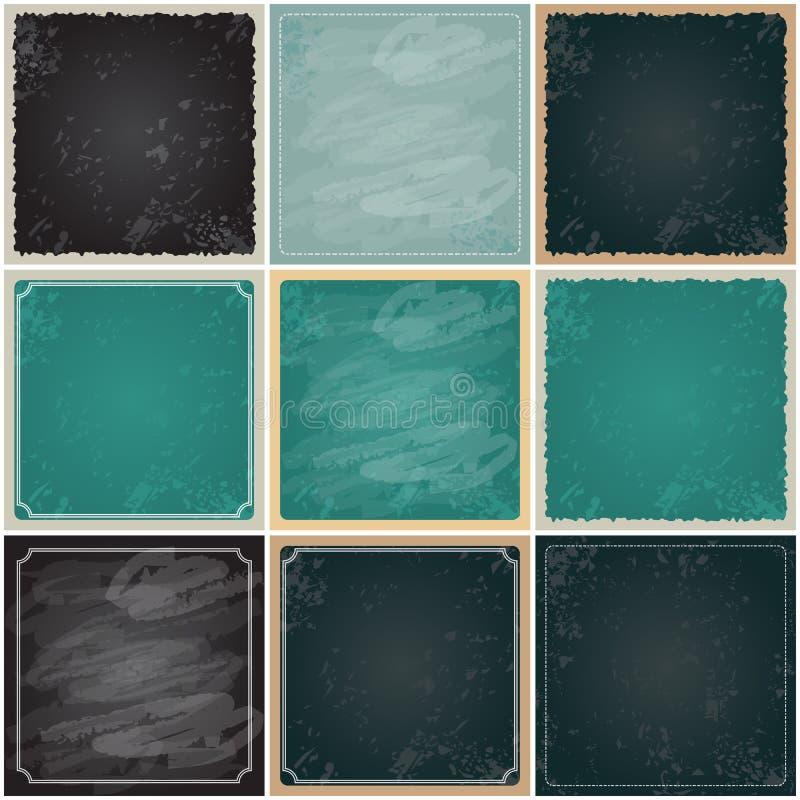 Uppsättning av retro 9, tomma svart tavlabakgrunder för tappning vektor illustrationer