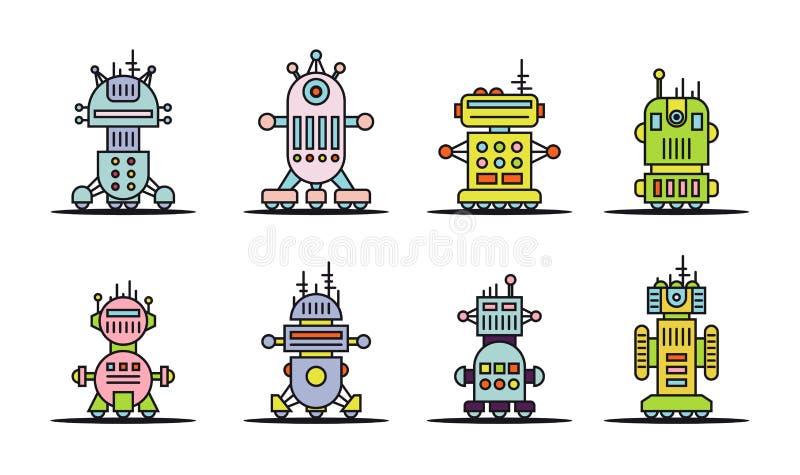 Uppsättning av robotsymboler stock illustrationer