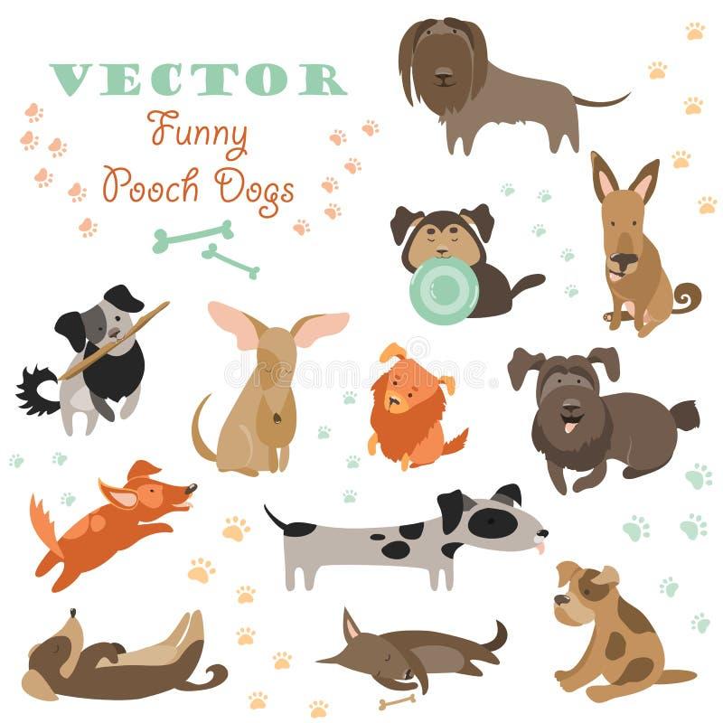 Uppsättning av rolig blandad avelhundkapplöpning royaltyfri illustrationer