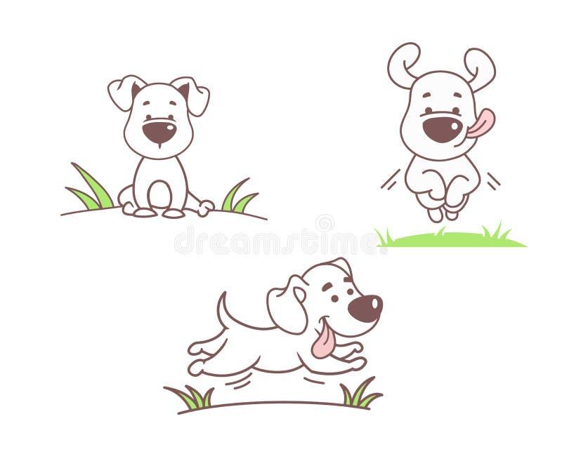 Uppsättning av rolig hundkapplöpning vektor illustrationer