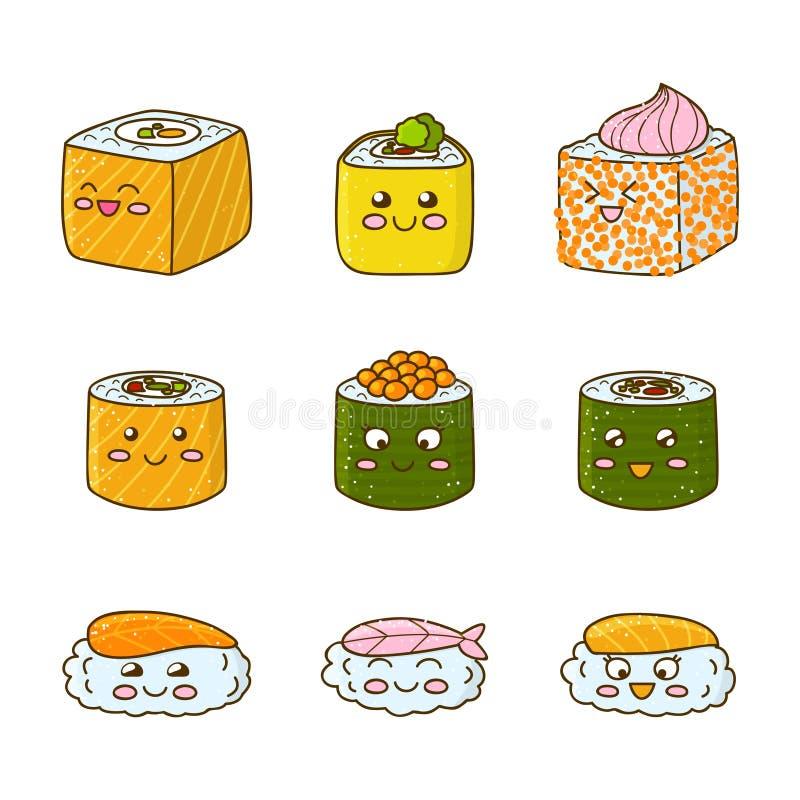 Uppsättning av rolig sushi och rullar royaltyfri illustrationer