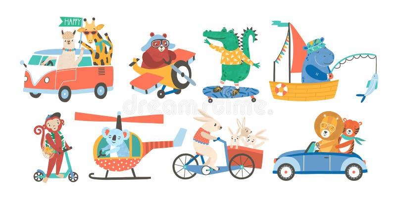 Uppsättning av roliga förtjusande djur i olika typer av transport - köra bilen och att fiska i segelbåten som rider cykeln stock illustrationer