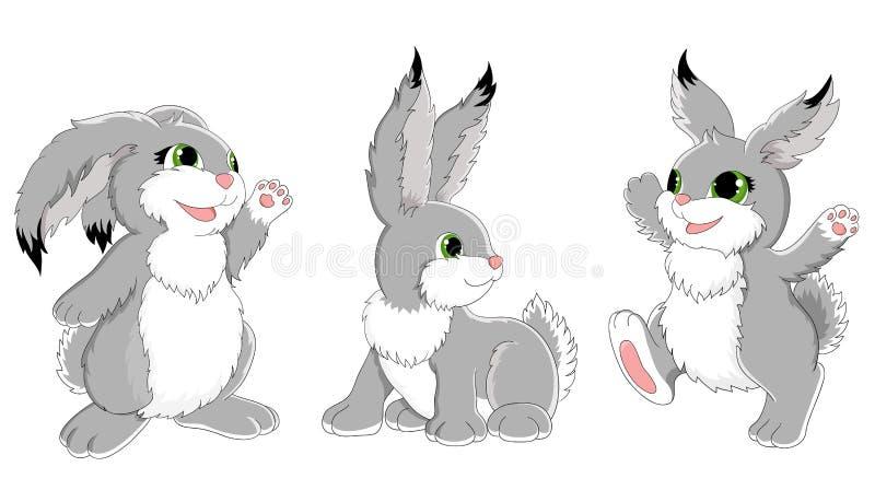 Uppsättning av roliga kaniner royaltyfri illustrationer
